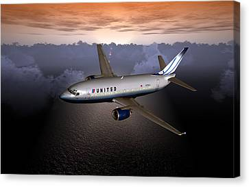 Canvas Print featuring the digital art 737 Ual 06 by Mike Ray