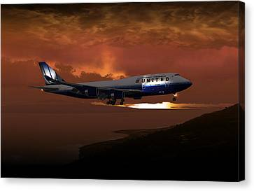 747-400 02 Approach Phog Canvas Print by Mike Ray