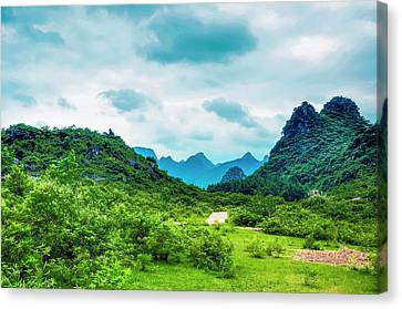 Karst Rural Scenery In Spring Canvas Print by Carl Ning