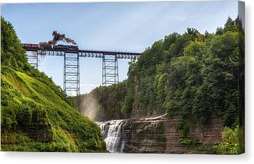 Canvas Print featuring the photograph 765 Over Upper Falls by Mark Papke