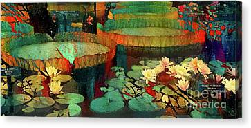 Rust Canvas Print - Jeweled Water Lilies by Amy Cicconi