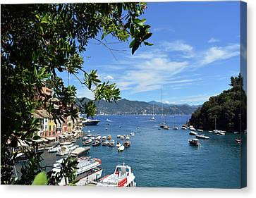 6 August 2016. Photography Of The Beautiful Portofino Fishing Village In Italy. View On Small Bay An Canvas Print by Oana Unciuleanu