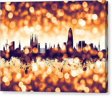 Michael Canvas Print - Barcelona Spain Skyline by Michael Tompsett