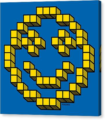 Canvas Print featuring the digital art 8 Bit Smiley Face by Ron Magnes