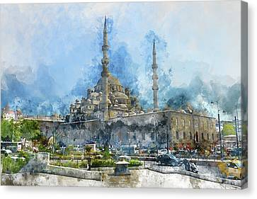 Blue Mosque In Istanbul Turkey Canvas Print by Brandon Bourdages