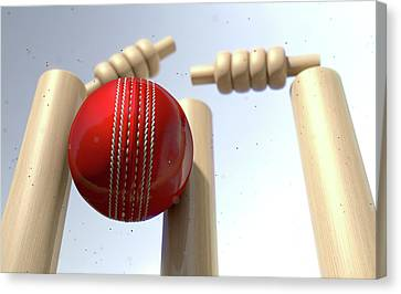 Close Up Canvas Print - Cricket Ball Hitting Wickets by Allan Swart