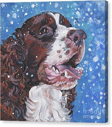 Dogs In Snow Canvas Print - English Springer Spaniel by Lee Ann Shepard