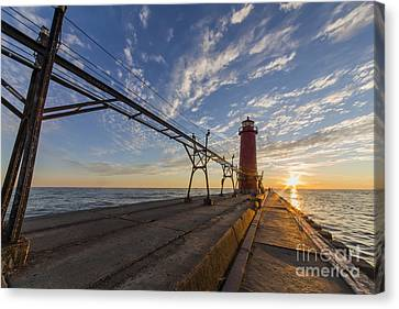Grand Haven Pier And Lighthouse Canvas Print by Twenty Two North Photography