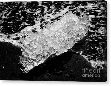 Ice Washed Up On Black Sand Beach At Jokulsarlon Iceland Canvas Print