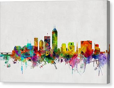 Michael Canvas Print - Indianapolis Indiana Skyline by Michael Tompsett