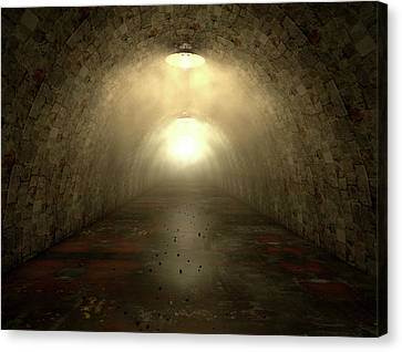Long Tunnel Lights Canvas Print by Allan Swart
