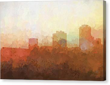 Canvas Print featuring the digital art New Orleans Louisiana Skyline by Marlene Watson