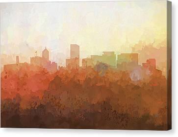 Canvas Print featuring the digital art Portland Oregon Skyline by Marlene Watson