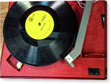 Canvas Print featuring the photograph 8 Rpm Record Player by Gary Slawsky