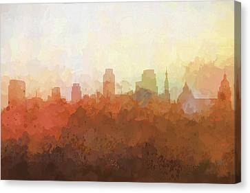 Canvas Print featuring the digital art Sacramento California Skyline by Marlene Watson