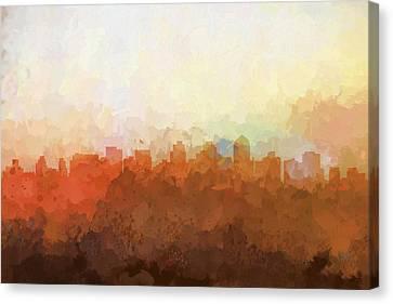 Canvas Print featuring the digital art San Diego California Skyline by Marlene Watson