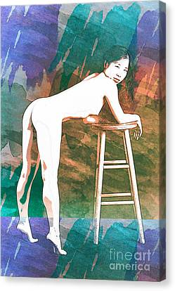 Suro Female Nude Watercolor Painting Fine Art Print Or Picture P Canvas Print by Kendree Miller