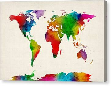 Michael Canvas Print - Watercolor Map Of The World Map by Michael Tompsett