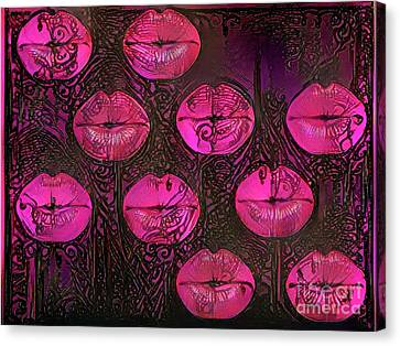 Kissing Lips Canvas Print