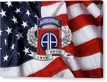 Abn Canvas Print - 82nd Airborne Division 100th Anniversary Insignia Over American Flag  by Serge Averbukh