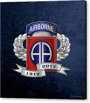 Abn Canvas Print - 82nd Airborne Division 100th Anniversary Insignia Over Blue Velvet by Serge Averbukh