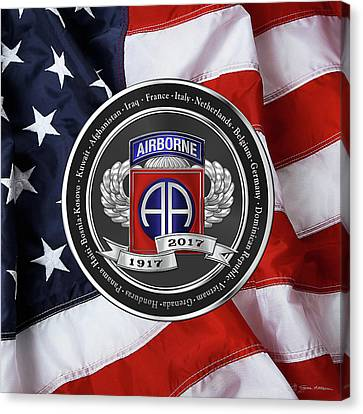 Abn Canvas Print - 82nd Airborne Division 100th Anniversary Medallion Over American Flag by Serge Averbukh