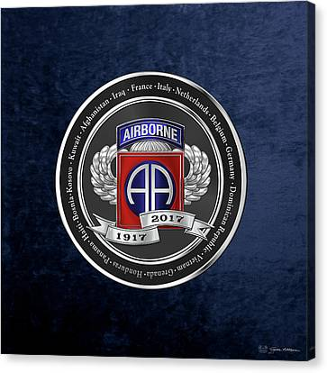 Abn Canvas Print - 82nd Airborne Division 100th Anniversary Medallion Over Blue Velvet by Serge Averbukh