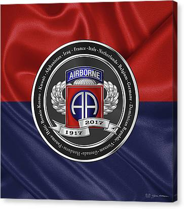 Abn Canvas Print - 82nd Airborne Division 100th Anniversary Medallion Over Division Colors by Serge Averbukh