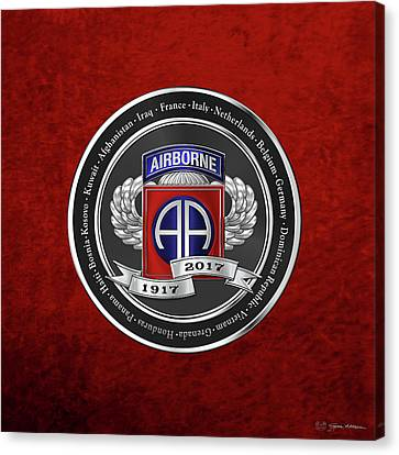 Abn Canvas Print - 82nd Airborne Division 100th Anniversary Medallion Over Red Velvet by Serge Averbukh