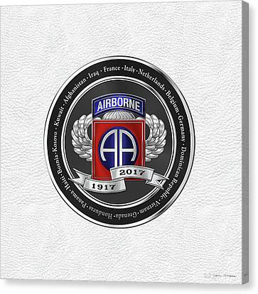 Abn Canvas Print - 82nd Airborne Division 100th Anniversary Medallion Over White Leather by Serge Averbukh