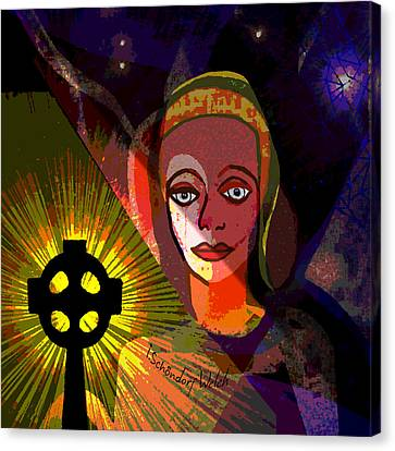 Canvas Print featuring the digital art 863 - A Celtic Cross by Irmgard Schoendorf Welch