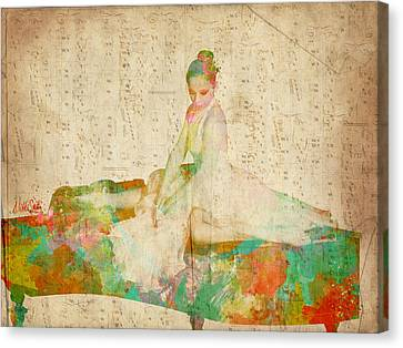Ballerinas Canvas Print - 88 Keys To Her Heart by Nikki Smith