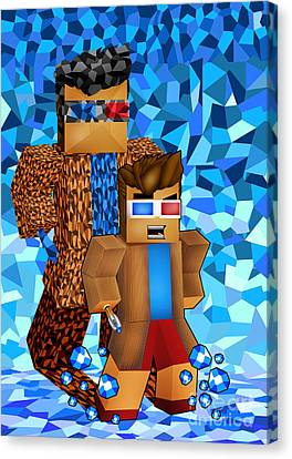 8bit Boy With Time Traveller Shadow Canvas Print by Three Second