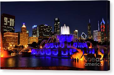 Canvas Print featuring the photograph 911 Tribute At Buckingham Fountain, Chicago by Zawhaus Photography