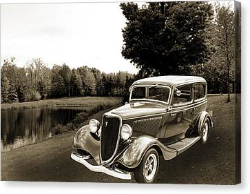 1934 Ford Sedan Antique Vintage Photograph Fine Art Print Collec Canvas Print by M K  Miller