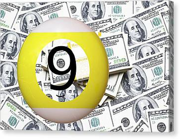 9 Ball - It's All About The Money Canvas Print by Daniel Hagerman