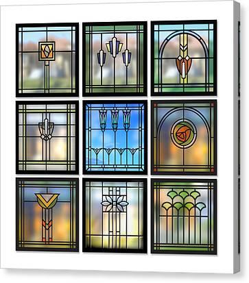 9 Bungalow Windows Canvas Print