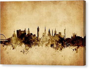 Glasgow Scotland Skyline Canvas Print by Michael Tompsett