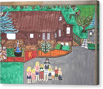 Canvas Print featuring the painting 9 Grand Kids by Jeffrey Koss