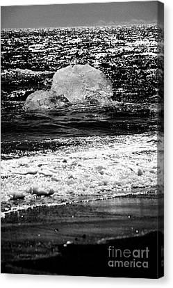 Iceberg Washing Up On Black Sand Beach At Jokulsarlon Iceland Canvas Print