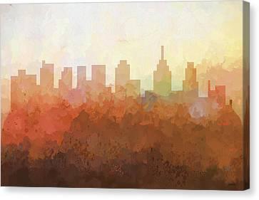 Canvas Print featuring the digital art Philadelphia Pennsylvania Skyline by Marlene Watson