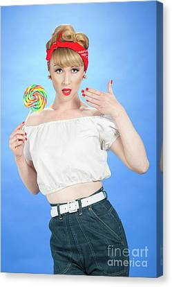 White Shirt Canvas Print - Pin Up Girl by Amanda Elwell