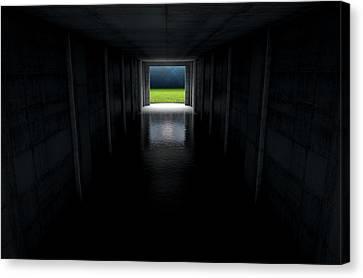 Sports Stadium Tunnel Canvas Print by Allan Swart