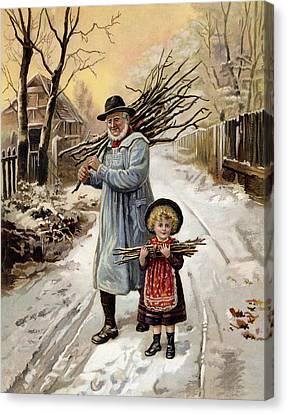 Vintage Christmas Card Canvas Print by English School