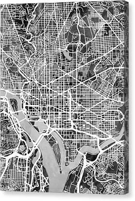 Michael Canvas Print - Washington Dc Street Map by Michael Tompsett