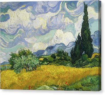 Canvas Print featuring the painting Wheat Field With Cypresses by Vincent van Gogh