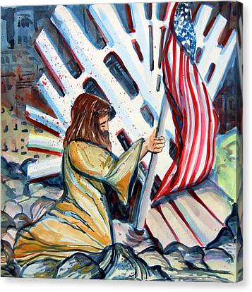 911 Cries For Jesus Canvas Print by Mindy Newman