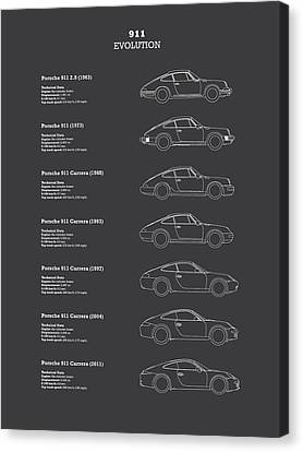 Classic Porsche 356 Canvas Print - 911 Evolution by Mark Rogan