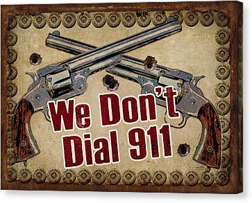 Pistol Canvas Print - 911 by JQ Licensing