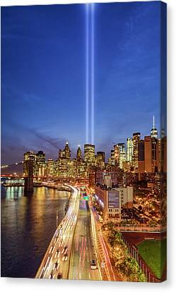 Canvas Print featuring the photograph 911 Tribute In Light In Nyc II by Susan Candelario